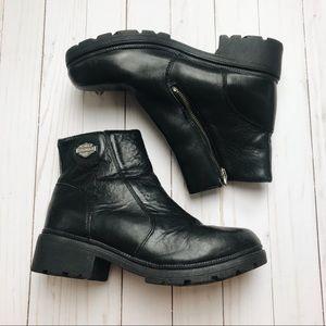 Harley Davidson Black Leather Booties 9.5